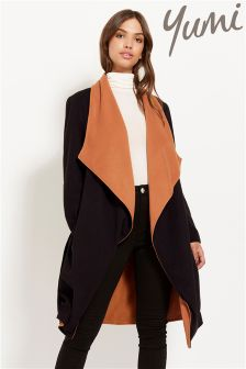 Yumi Contrast Waterfall Wrap Coat