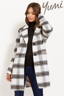 Yumi Single Breasted Checked Coat