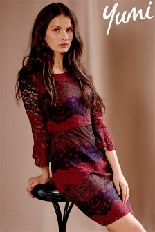 Yumi Flute Sleeve Lace Dress