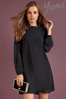 Yumi Embellished Collared A line Dress