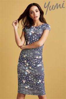Yumi Kimono Print Jersey Dress
