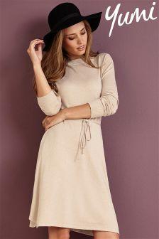 Yumi Hanky Hem Knitted Lurex Dress