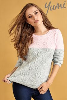 Yumi Colour Block Cable Jumper