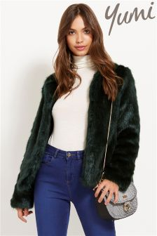 Yumi Collarless Faux Fur Jacket