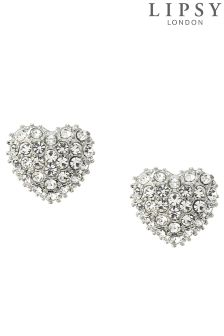 Lipsy Pave Heart Stud Earrings