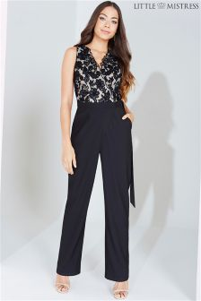 Little Mistress Embroidered Wrap Jumpsuit