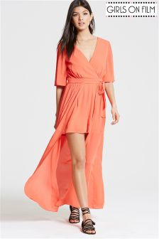 Girls On Flim Coral Crossover Playsuit