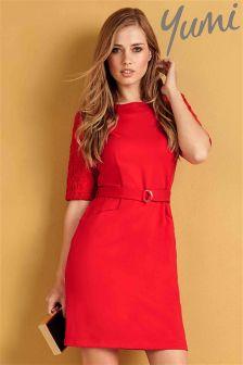 Yumi Ponte Lace Sleeve Belt Dress