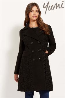 Yumi Double Breasted Coat With Lace Panels