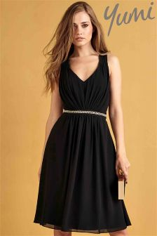 Yumi Midi Diamante Waistband Party Dress