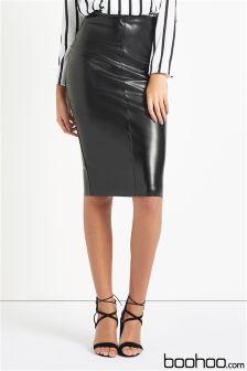 Boohoo Leather Look Midi Skirt