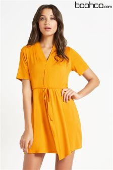 Boohoo Short Sleeve Tie Waist Wrap Dress