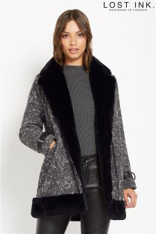 Lost Ink Tweed Fur Lined Coat