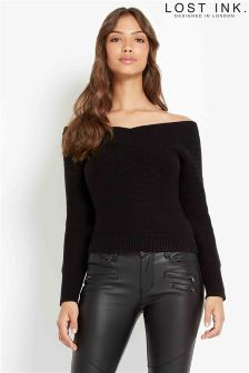Lost Ink Knitted V neck Bardot Jumper