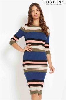 Lost Ink Stripe Rib Knitted Dress