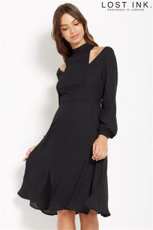 Lost Ink Cold Shoulder Tie Back Dress