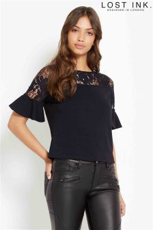Lost Ink Lace Yolk Peplum Sleeve Top