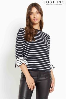 Lost Ink Stripe Peplum Sleeve Tee