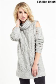 Fashion Union Cold Shoulder Cable Knit