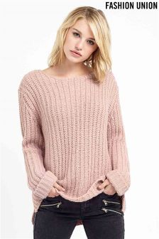 Fashion Union Vertical Ribbed Jumper