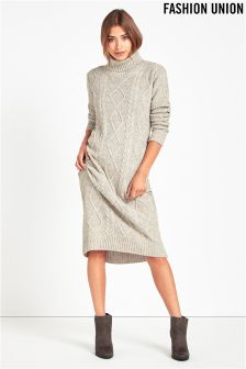 Fashion Union Cable Knit Midi Dress