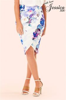 Jessica Wright Floral Wrap Front Pencil Skirt