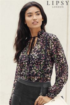 Lipsy Floral Tie Neck Blouse