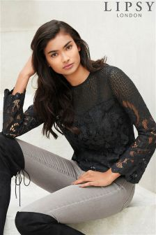 Lipsy Bell Sleeve Lace Top