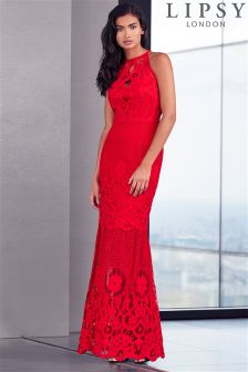 Lipsy Red Scallop Fishtail Maxi Dress