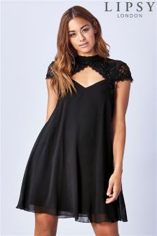 Lipsy Lace Shoulder And Neck Trim Swing Dress