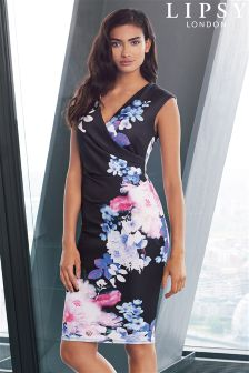 Lipsy Wrap Floral Print Bodycon Dress