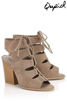 Qupid Multi Strap Lace Up Heels
