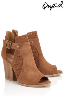 Qupid Perforated Peep Toe Boots