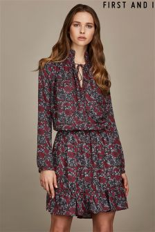 First And I Floral Printed Long Sleeve Dress
