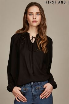 First and I Tie Up Long Sleeve Blouse
