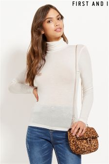 First And I Long Sleeve Roll Neck Jumper