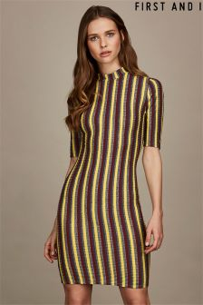 First and I Striped Glitter Bodycon Dress