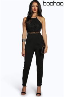 Boohoo Floral Lace Strappy Jumpsuit