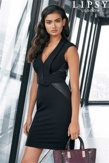 Lipsy V neck PU Panel Dress