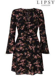 Lipsy Blossom Floral Tie Neck Skater Dress
