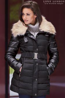 Lipsy Love Michelle Keegan Faux Fur Hood Puffer Coat