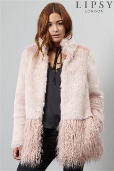 Lipsy Faux Mongolian Fur Coat