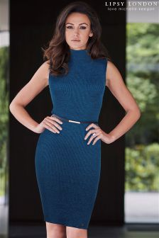 Lipsy Love Michelle Keegan Metallic Belted Knit Dress