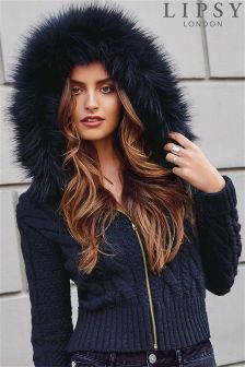 Lipsy Faux Fur Trim Cable Hoodie