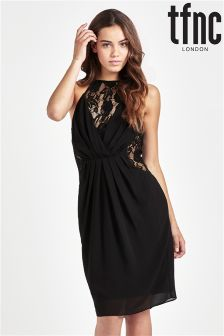 tfnc Pleated Wrap Front Dress