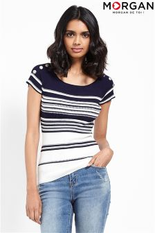 Morgan Ribbed Stripe Shoulder Stud T-shirt