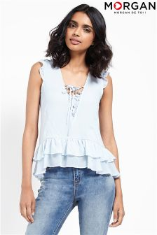 Morgan Eyelet Lace Up Frill Flare Top