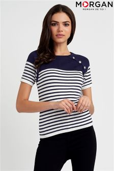 Morgan Stripe Chunky Button Detail Top