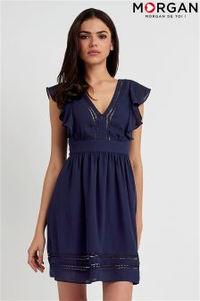 Morgan V neck Frill Dress