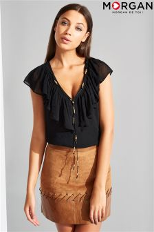 Morgan V Neck Frill Detail Chain Top